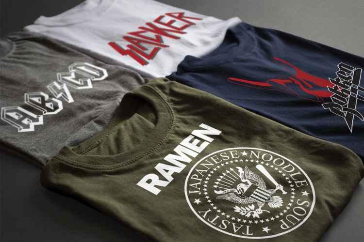 Various band parody t-shirts