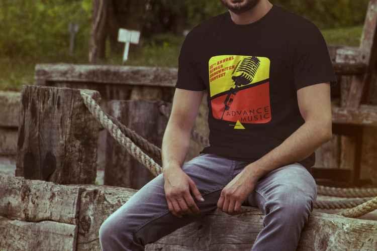 Man wearing Advance Music shirt